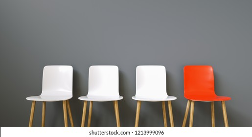 Row of chairs with one red. Job opportunity. Business leadership. recruitment concept