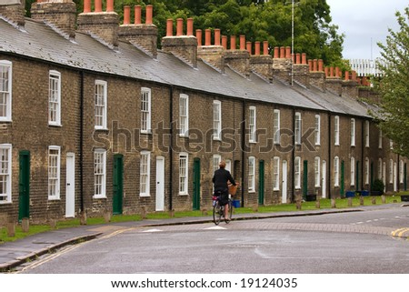 Row of characteristic English houses (Cambridge, UK)