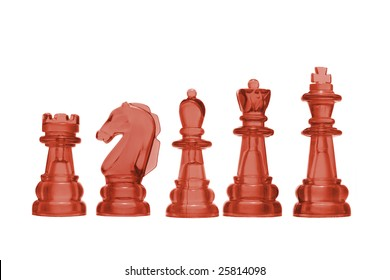 Row of Chess Pieces on White Background