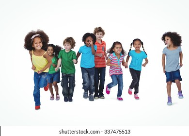 A row of children standing together against a white background