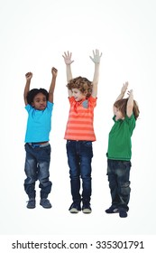 A row of children standing together with raised arms against a white background