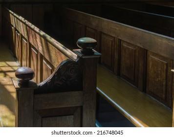 Row of Church Pews in a Church