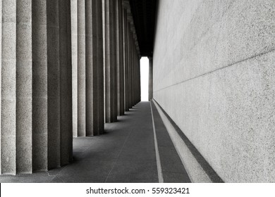 Row of classic columns in black and white