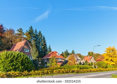 Row of classic Dutch villa's in the province of Gelderland during autumn