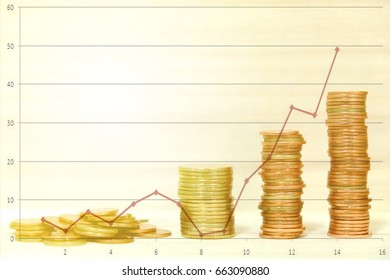 Row of coins and money growing with  financial graph growth chart, Business , finance ,saving, trading and banking concept .
