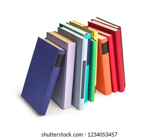 row of color books isolated