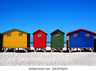 Row of colored beach huts