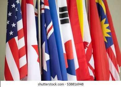 row of colorful Asia Pacific International Flags