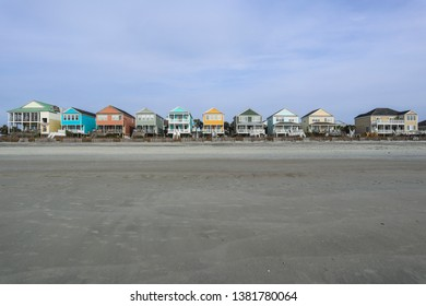 A row of colorful beachfront homes in Myrtle Beach, South Carolina.