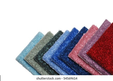 row of colorful carpet samples