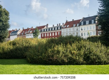 Row of colorful houses by Kings Garden in the city of Copenhagen in Denmark
