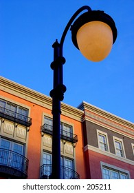 Row of colorful houses and a lamppost