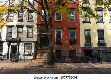 Row of Colorful Old Brick Homes in the East Village of New York City