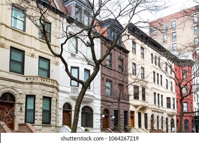 Row of colorful old buildings in the Upper West Side of Manhattan, New York City