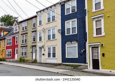 A row of colourful jellybean houses in St. John's, Newfoundland.