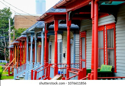 A row of colourful wooden porches of the social housing on Auburn Avenue, Atlanta, Sweet Auburn District, Atlanta USA these houses are directly opposit the house that Martin Luther King was born in.