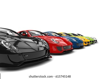 Row of cool modern sports cars in various colors - 3D Illustration