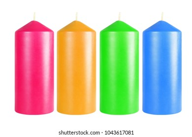 Row of Decorative Colourful Candles on White Background
