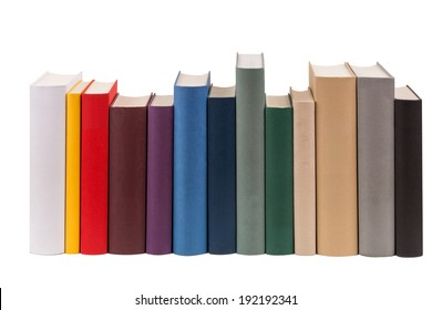 A row of different books in different colors.