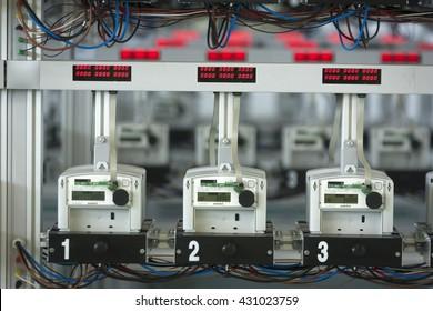 Row of Digital Electricity Meters.