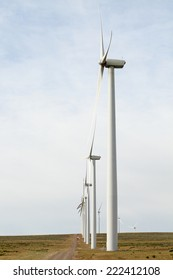 A row of ecologically friendly wind generators