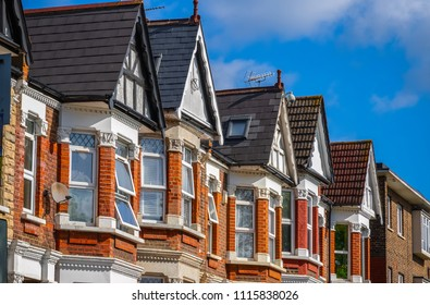 A row of Edwardian style terraced houses around Kensal Rise in London