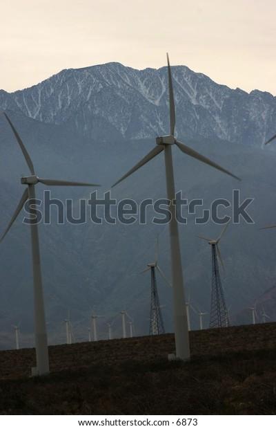 row of efficient windmills