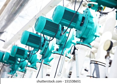 Row of electric water pumps