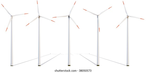 Row of electricity windmill isolated on white background.