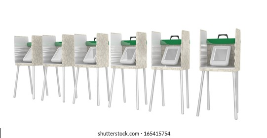 row of electronic voting booths isolated on white