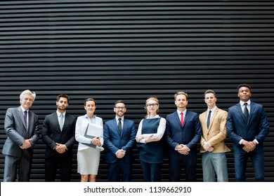 Row of elegant delegates in elegant formalwear standing by dark grey background