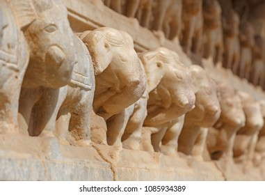 row of elephants carved on wall of Meera Krishna Temple in Jaipur, India