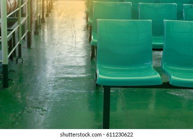 Row of empty chairs.