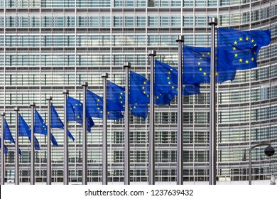 Row of EU Flags in front of the European Union Commission building in Brussels