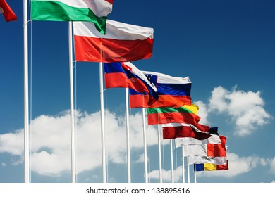Row of European country  flags