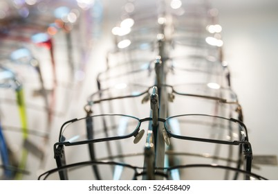 row of  eyeglass at an opticians