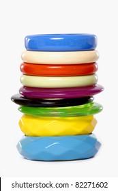 Row of Fashion multicolored bangles