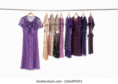 Row of female colorful clothing , floral pattern sundress on hanger