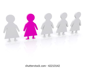 row of female dolls in 3D isolated on white