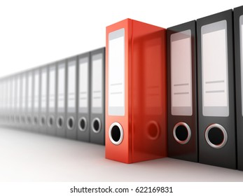 Row files black and red on white background. 3d illustration
