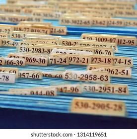 Row of files close up shot