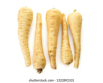Row of five parsnip roots, top view, isolated on white background