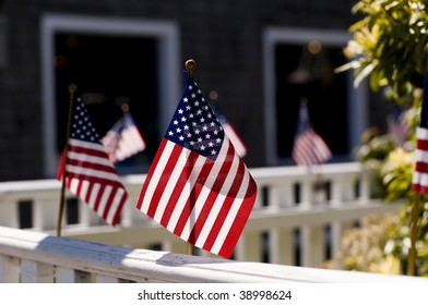 Row of flags on a bannister