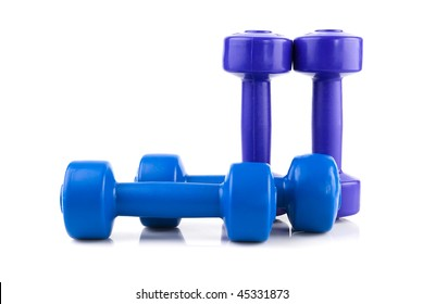 row of four color dumbbell  isolated on white