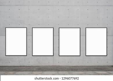 row of framed poster / blank poster frames near sidewalk mock up for advertising
