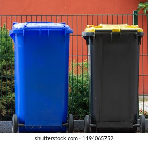 Row of garbage cans for wate separation and recycling