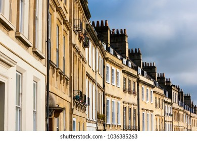Row of Georgian Townhouses in Bath, England, UK