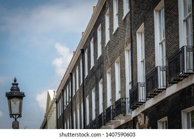 A row of Georgian townhouses in Bloomsbury, London