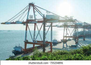 row of giant cranes at freight terminal,china.