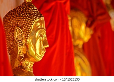 The row of golden Buddha statue for worship in temple, Thailand